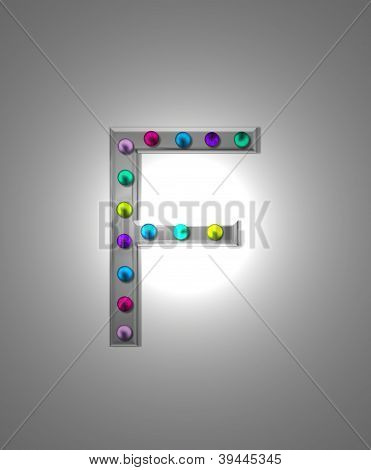 Alfabeto letreiro Metal Ff