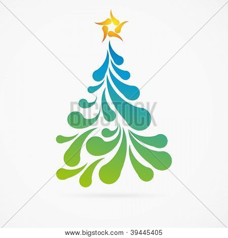 Christmas tree made of colorful arc drops. Decorative background.