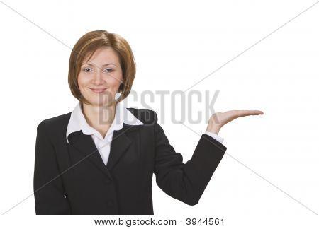 geschäftsfrau präsentiert etwas