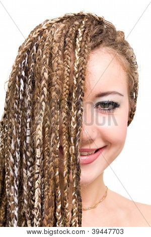 Smiling Young Woman With Dreadlocks