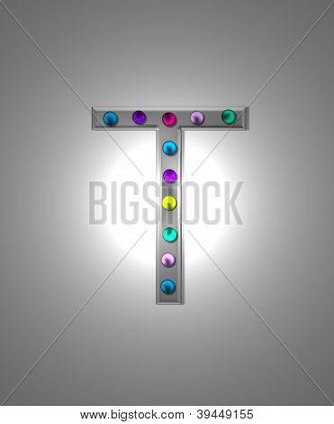 Letreiro de Metal alfabeto T