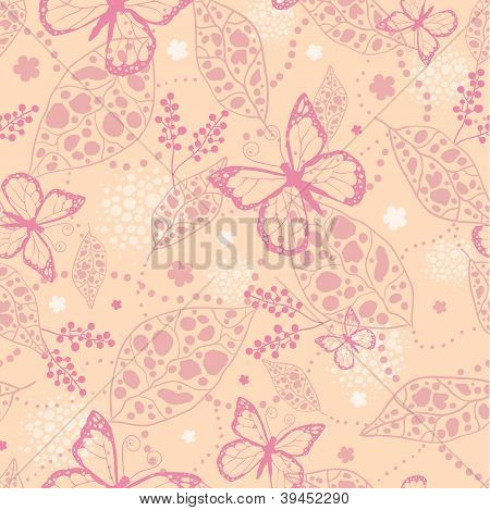 Pink Butterflies Seamless Pattern Background