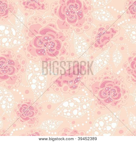 Subtle art flowers seamless pattern background