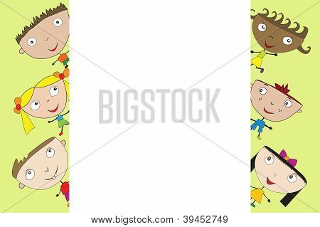 Cute Cartoon Kids With Banner