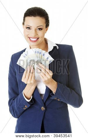 Happy business woman holding euro money , isolated on white background