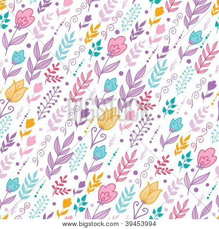 Tulip field flowers seamless pattern background