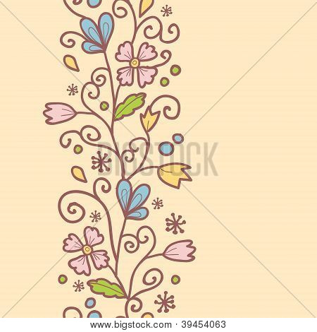 Flowers and leaves vertical seamless pattern background border
