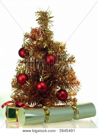 Tinsel Christmas Tree With Presents And Crackers