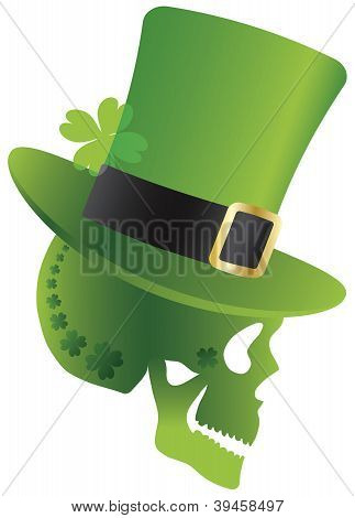 St Patricks Day Skull With Leprechaun Hat Side Illustration
