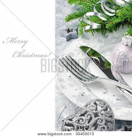 Christmas Menu Concept In Silver Tone