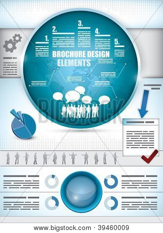 Brochure Design Elements with different diagrams, a world map, silhouette of a crowd and business people