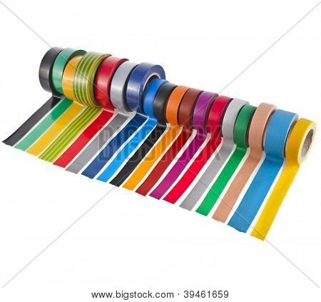 color adhesive tape roll  isolated on white background