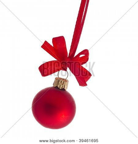 christmas red ball with ribbon bow  isolated on white background