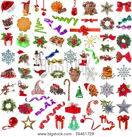 Big christmas collection set of different colorful objects , isolated on a white background