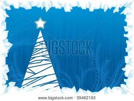 Abstract winter blue background, with stars, snowflakes and Christmas tree
