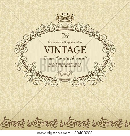 Vintage background with crown and seamless pattern