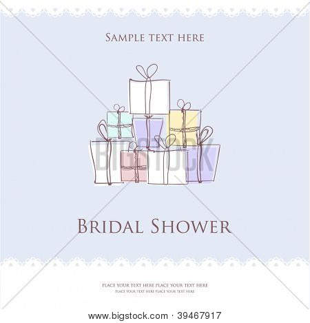 Bridal shower  invitation card with present boxes
