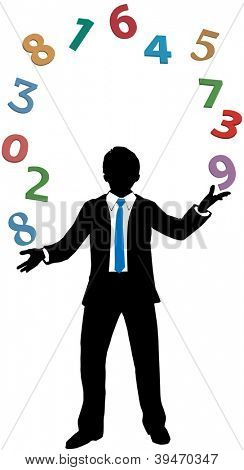 Business man accountant juggling financial number crunching data