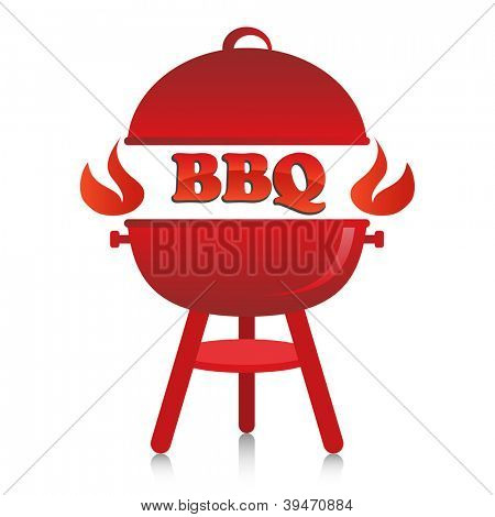 Red fiery BBQ grill.