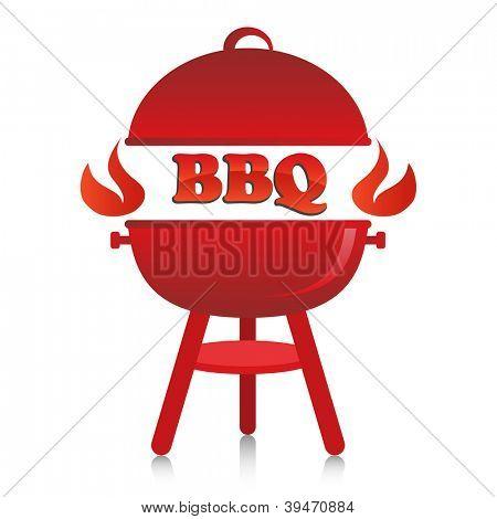 Red fiery BBQ grill.