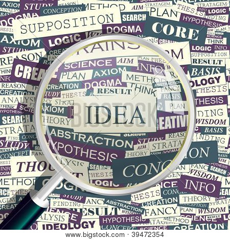 IDEA. Seamless word collage. Vector illustration.