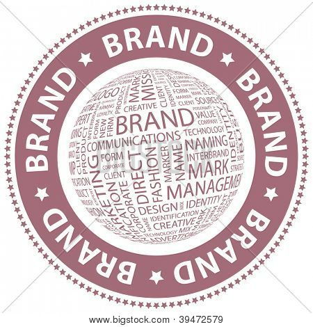 BRAND. Vector stamp. Word collage.