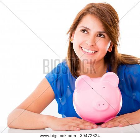 Thoughtful woman with her savings - isolated over a white background