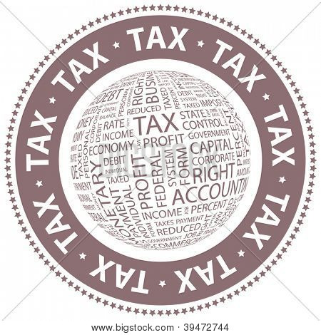 TAX. Vector stamp.