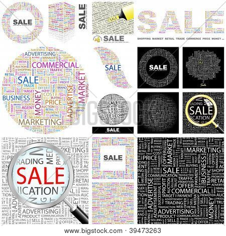 SALE. Word collage. GREAT COLLECTION.