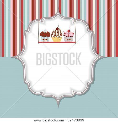 Cupcake invitation card vector illustration
