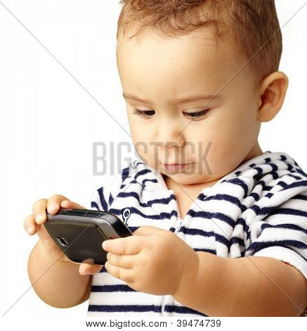 Portrait Of Baby Boy Using Cell Phone Isolated On White Background