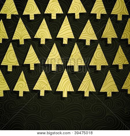 Christmas tree banner made of fancy paper, vector eps8 illustration