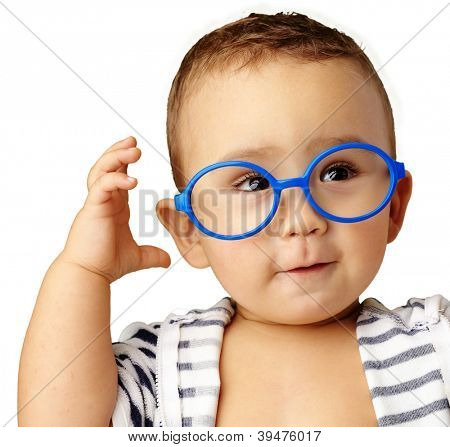 Portrait Of Baby Boy Wearing Blue Eye wear Isolated On White Background