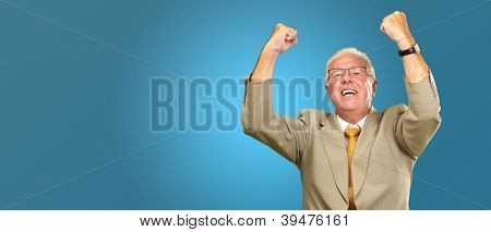 Senior Business Man Cheering Isolated On Blue Background