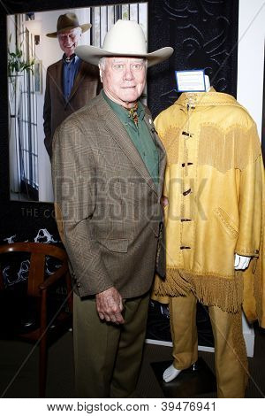 BEVERLY HILLS - MAY 24: Larry Hagman at the press preview of his personal items and memorabilia at Julien's Auctions Beverly Hills on May 24, 2011 in Beverly Hills, California