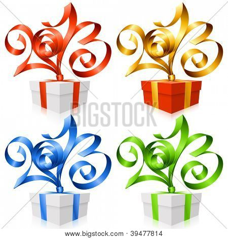 Vector red, golden, blue and green ribbon in the shape of 2013 and gift box. Symbol of New Year