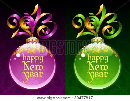 Christmas and New Year circle frame. Vector ribbon in the shape of 2013 and glass ball. Purple and green