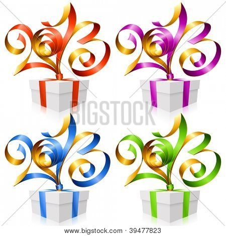 Vector red, purple, blue and green ribbon in the shape of 2013 and gift box. Symbol of New Year