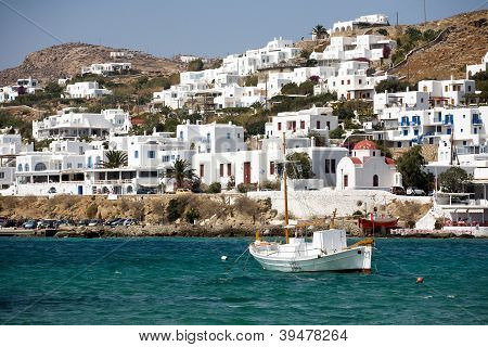 Small Greek Town Of Mykonos