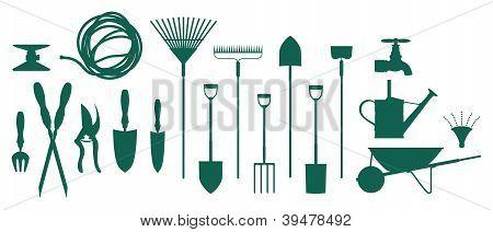 Set of garden assorted tools and equipment