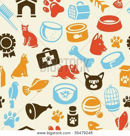 Bright Seamless Pattern With Funny Cat And Dog Icons