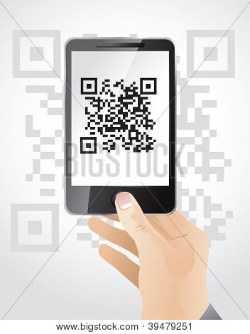 Hand Holding Moble Phone Wit Qr Code