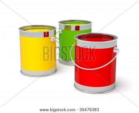 Colorful paint cans on white