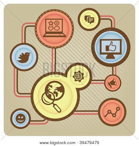 Vector Social Media Concept With Internet Icons