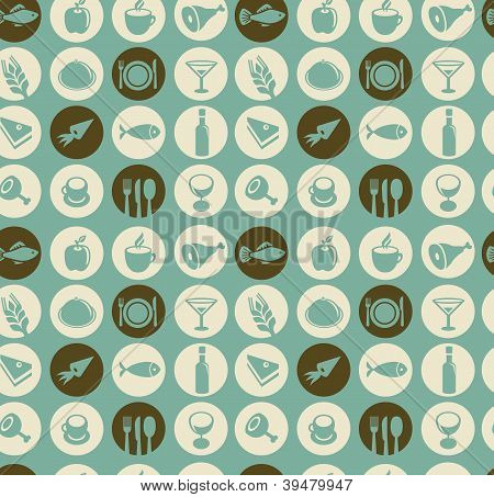 Pattern With Restaurant And Food Icons