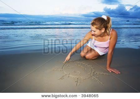 Young Woman Draws Sun