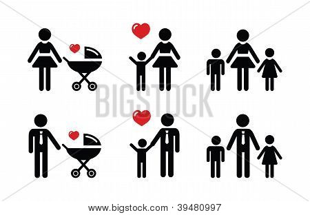 Single parent sign - family icons