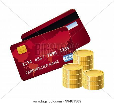 Vector Credit Card And Golden Coins