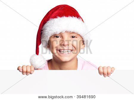 Boy in Santa hat