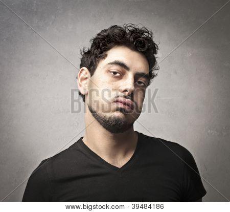 Bored guy snorting